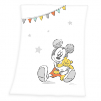 BELA odeja iz mehkega peach flisa Mickey Mouse in ZVEZDICE 75x100 cm