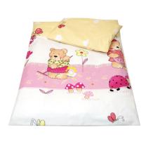 Rumeno-roza 2-delna posteljnina za zibko MEDO 50x70cm