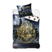 Siva 2-delna posteljnina Harry Potter HOGWARTS NIGHT, 140x200 cm, Carbotex