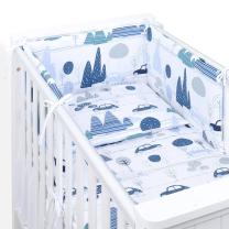 Bela in modra  3-delna posteljnina AVTI IN HRIBI 120x90 cm, MAMO-TATO