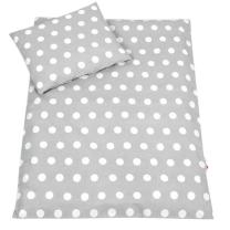 Siva 2-delna posteljnina za zibko BELE PIKE, Balbina 50x70cm