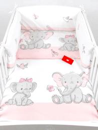 3 delna posteljnina roza slonček z rožico