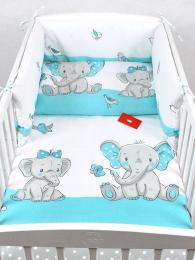3 delna posteljnina turkizen slonček z rožico