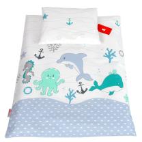 Bela 2-delna posteljnina za zibko MINT MORSKE ŽIVALI 60x75 cm