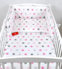 Bela 3-delna posteljnina SIVE IN ROZA ZVEZDICE 135x100 cm