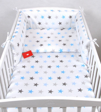 Bela 3-delna posteljnina SIVE IN MODRE ZVEZDICE 135x100 cm