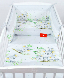 Siva 2-delna posteljnina KOALA 120x90 cm BabyLux