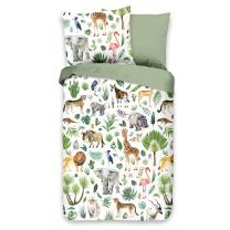 Bela - khaki zelena otroška posteljnina JUNGLE 120x150 cm