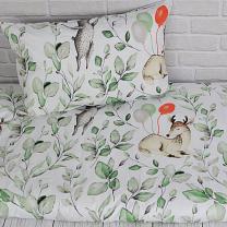 Bela 2-delna posteljnina ZAJČEK IN SRNICA Z BALONI 150x120 cm, Largo