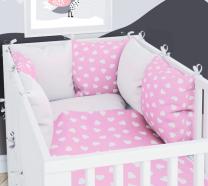 BELA - ROZA  dvostranska 3-delna posteljnina 120x90 cm SRČKI, z obrobo iz blazin, Balbina