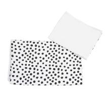 posteljnina za zibelko bela-bela črna pikice