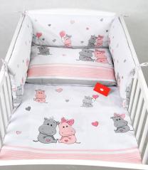 Bela 3-delna posteljnina ROZA HIPPO 135x100 cm