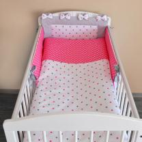 Dvostranska 3-delna posteljnina BELA s sivimi in roza zvezdicami ŽIVO ROZA bele pikice 120x90 cm Largo