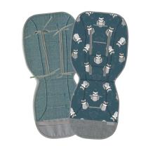 Jeans metal mint dvostranska blazina za voziček PETROL MODRA rakun, Beztroska