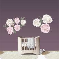 Stenske nalepke PASTELNO ROZA IN BELE VRTNICE 110x130 cm, Don Dobinio