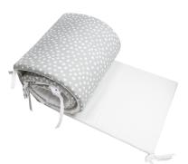 Dvostranska obroba za posteljico BELA - SIVA bele pike nepravilnih oblik, 210x30 cm Largo