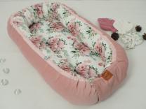 Roza velvet gnezdece za dojenčka vrtnice