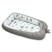 Dvostransko gnezdece za dojenčka, BEL mint in zelen vzorec POMLAD -  SIVA VAFELJ, TINY STAR