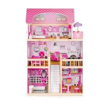 Roza hiša za punčke z LED Z LUČKAMI