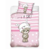 Roza 2-delna posteljnina MEDVEDK IT'S A GIRL! 120x90 cm