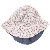 Roza klobuček z rožicami - UV zaščita (2-4 leta)