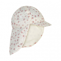 Kremno bel klobuček - kapa s šiltom za dojenčka z UV zaščito (UPF 50+) 1-2 leti – OLD ROSE METULJČKI, En Fant