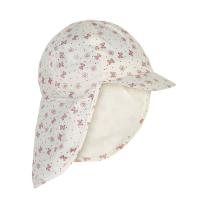 Kremno bel klobuček - kapa s šiltom za dojenčka z UV zaščito (UPF 50+) 6-12 m – OLD ROSE METULJČKI, En Fant