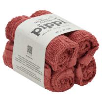 Opečnato rdeče krpice za umivanje iz organskega bombaža (4 KOSI) Pippi®
