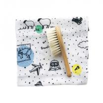 Mehka krtača za lase in krpica iz muslina PUSTOLOVŠČINA 40x40 cm LULLALOVE