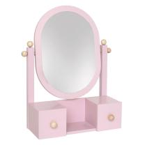 Roza leseno kozmetično ogledalo s predalniki