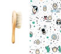 Mehka krtača za lase in krpica iz muslina MODRI JEŽKI 40x40 cm LULLALOVE