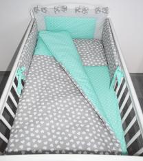 Dvostranska 3-delna posteljnina SIVA beli srčki MINT bele pikice 120x90 cm Largo