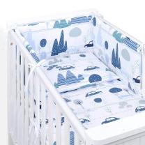 Bela in modra 3-delna posteljnina AVTI IN HRIBI 135x100 cm, MAMO-TATO