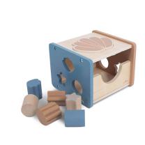 Modra kocka za razvrščanje oblik ŠKOLJKA (12m+), Jollein