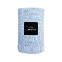 Svetlo modra bambusova pletena odeja LULLALOVE 80x100 cm