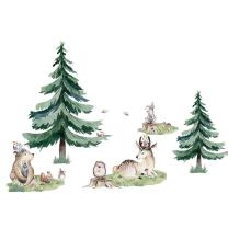 Stenske nalepke Watercolor ŽIVALI INDIJANCI S SMREKAMI (250cmx200 cm), Don Dobinio