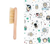 Krtača za lase in krpica iz muslina MODRI JEŽKI 40x40 cm LULLALOVE
