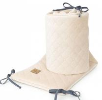 BEŽ obroba za posteljico, VELVET (180x30 cm), MAMO-TATO