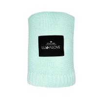 Mint bambusova pletena odeja LULLALOVE 120x100 cm