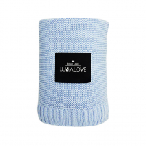 Svetlo modra bambusova pletena odeja LULLALOVE 120x100 cm