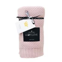 Pudrasto roza bambusova pletena odeja MAKRON LULLALOVE 80x100 cm