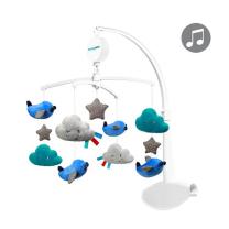 Otroški glasbeni vrtiljak modra LETALA IN OBLAKI