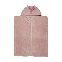 PUDRASTO ROZA brisača s kapuco iz organskega bombaža LISIČKA 120x70 cm, Pippi®