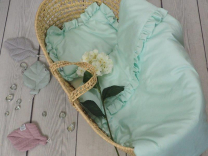 Mint odeja in vzglavnik z volančki s polnilom - 75x65 cm, Betulli