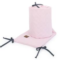 PASTELNO ROZA obroba za posteljico, MUSLIN (180x30 cm), MAMO-TATO
