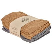 Rdeče-rjave in umazano marelične tetra pleničke iz organskega bombaža (4 KOSI) Pippi®