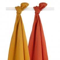MUSTARD RUMENA - ORANŽNA tetra plenica BAMBUS (115x115 cm) – 2 kosa, Jollein®