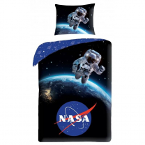 Modra 2-delna posteljnina NASA, Astronavt v vesolju 140X200 cm