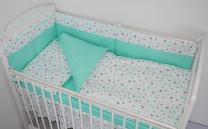 Dvostranska 3-delna posteljnina BELA mint in sive zvezdice - MINT 120x90 cm Largo