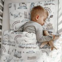 Bela 2-delna posteljnina PETROL MODRI VLAKCI 120x90 cm, Largo